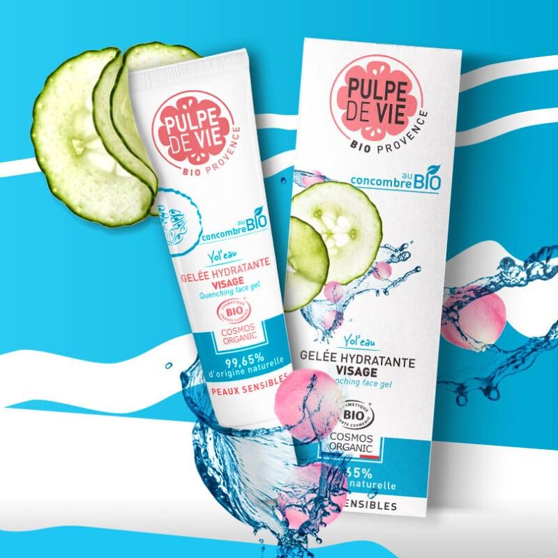 Moisturising facial gel with organic cucumber